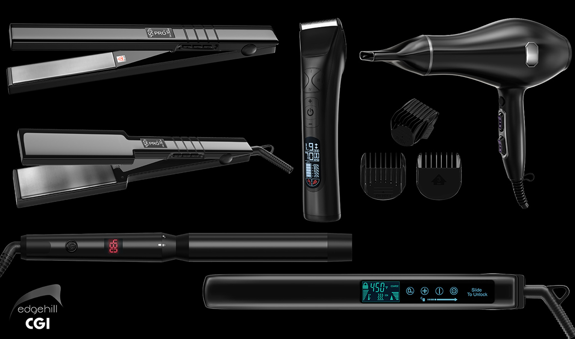 3D Render hair styling tools
